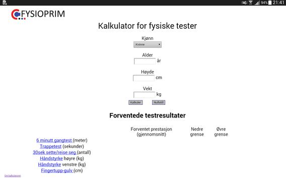 FYSIOPRIM Kalkulator apk screenshot