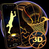 Neon Tech Basketball 3D Theme icon