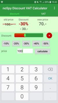 noSpy Discount VAT Calculator screenshot 1