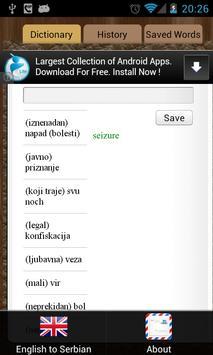 English Serbian Dictionary screenshot 1