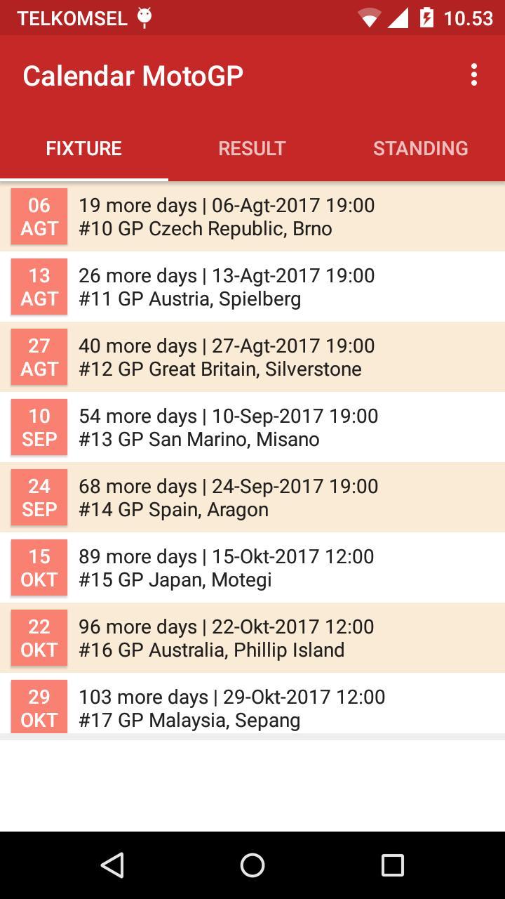 Calendar for MotoGP 2019 for Android - APK Download