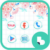 직접 그린 꽃배경 버즈런처 테마 (홈팩) icon