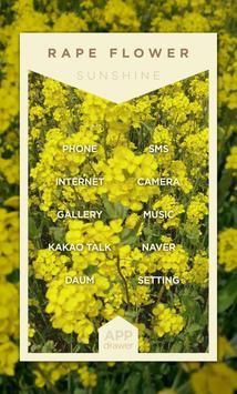 유채꽃밭 한 가운데서 버즈런처 테마 (홈팩) apk screenshot