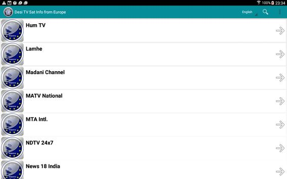 Desi TV sat info from Europe apk screenshot