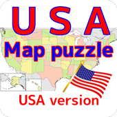 USA map puzzle free app icon