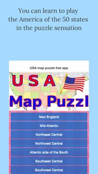 USA map puzzle free app poster