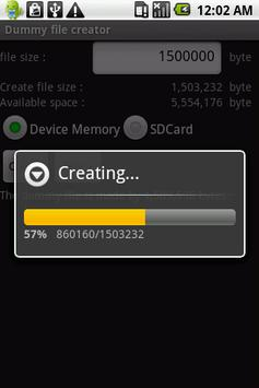 Dummy file creator apk screenshot