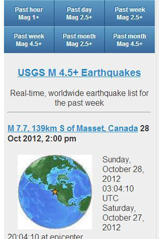 USGS Earthquake Data for Android - APK Download