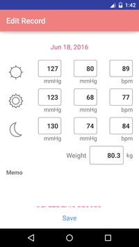 Blood Pressure Recorder apk screenshot