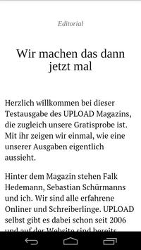 UPLOAD Magazin poster