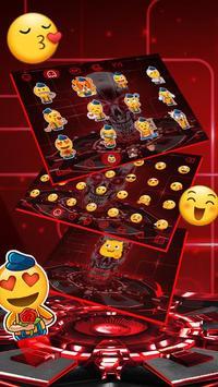 Red Neon tech skull Keyboard Theme screenshot 3