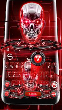 Red Neon tech skull Keyboard Theme poster
