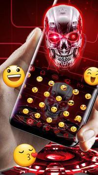 Red Neon tech skull Keyboard Theme screenshot 1