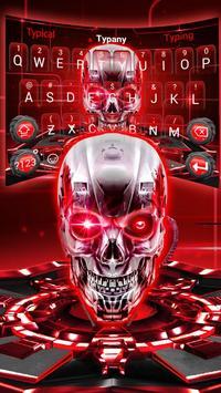 Red Neon tech skull Keyboard Theme screenshot 2