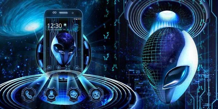 3D Neon Alien Galaxy Theme screenshot 3