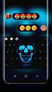 Neon Blue Skull Input Laughing Calavera Theme poster