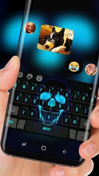 Neon Blue Skull Input Laughing Calavera Theme apk screenshot