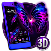 3D Neon Butterfly Galaxy Theme icon