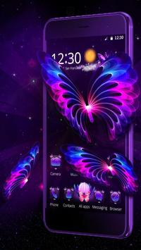 3D Neon Butterfly Galaxy Theme screenshot 2