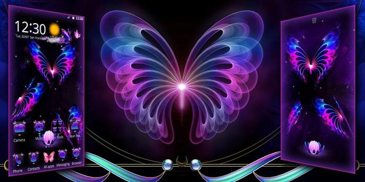 3D Neon Butterfly Galaxy Theme screenshot 3