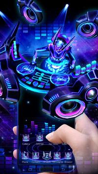 3D Neon Hologram DJ Music Theme poster