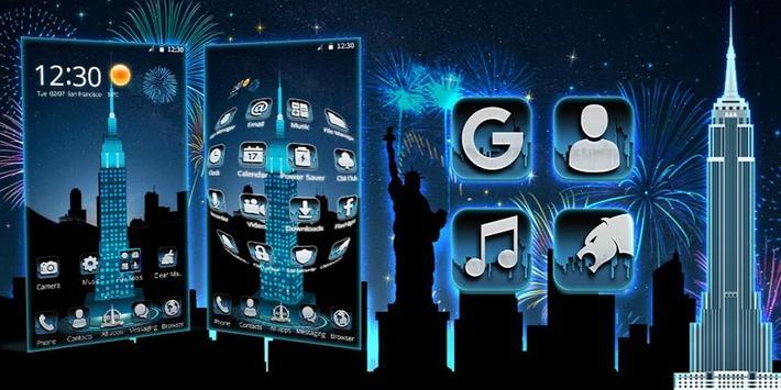 Neon Empire State Building 3D Theme screenshot 3