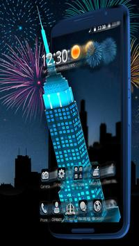 Neon Empire State Building 3D Theme poster