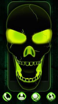 Neon Poison Skull 3D Theme poster