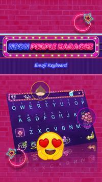 Neon Purple Karaoke Theme&Emoji Keyboard poster
