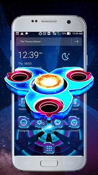 3D Neon Galaxy Spinner Theme poster