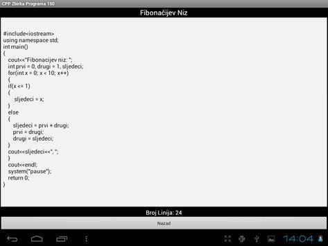 C++ Zbirka Programa 150 apk screenshot