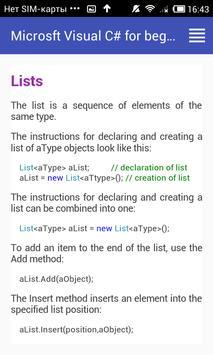 MS Visual C# for beginners apk screenshot