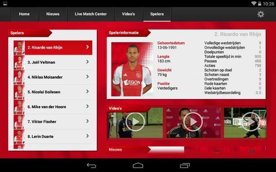 Officiële AFC Ajax tablet app screenshot 10