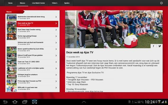 Officiële AFC Ajax tablet app screenshot 2