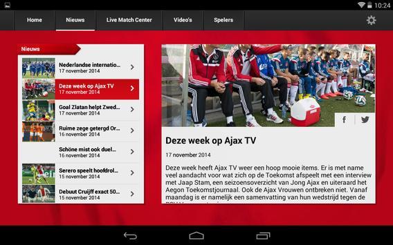 Officiële AFC Ajax tablet app screenshot 7