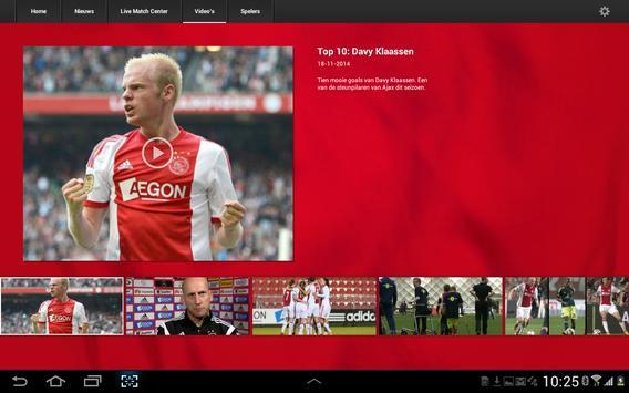 Officiële AFC Ajax tablet app screenshot 4
