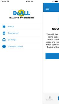 DoALL band saw blade calculator screenshot 1