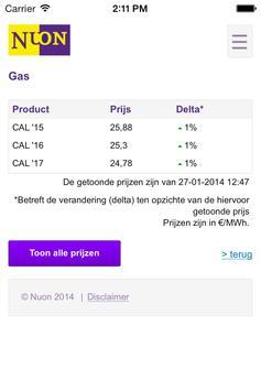 Energieprijzen screenshot 1