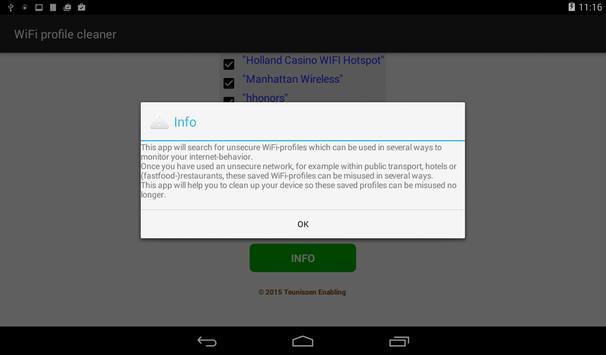 WiFi profile cleaner apk screenshot