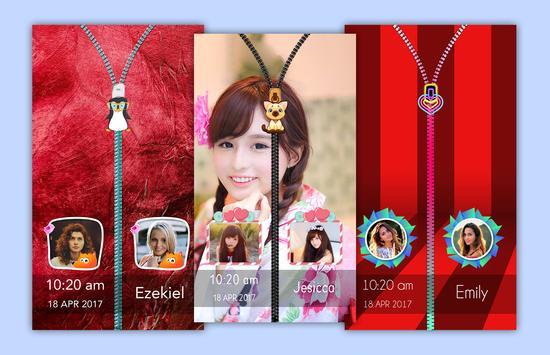 Red Zipper Lock Screen poster