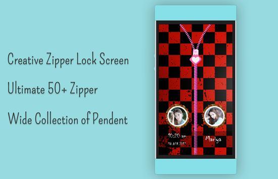 Red Zipper Lock Screen apk screenshot