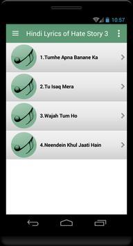 Hindi Lyrics of Hate Story 3 apk screenshot