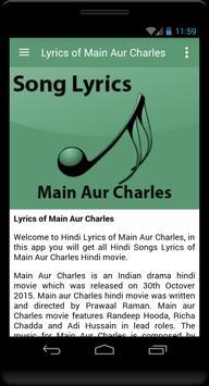 Lyrics of Main Aur Charles screenshot 1