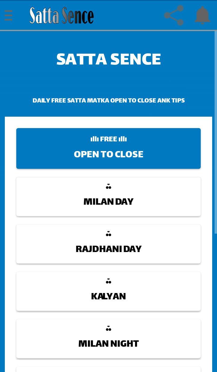 SattaSence Milan Rajdhani Kalyan Main Mumbai tips for Android - APK