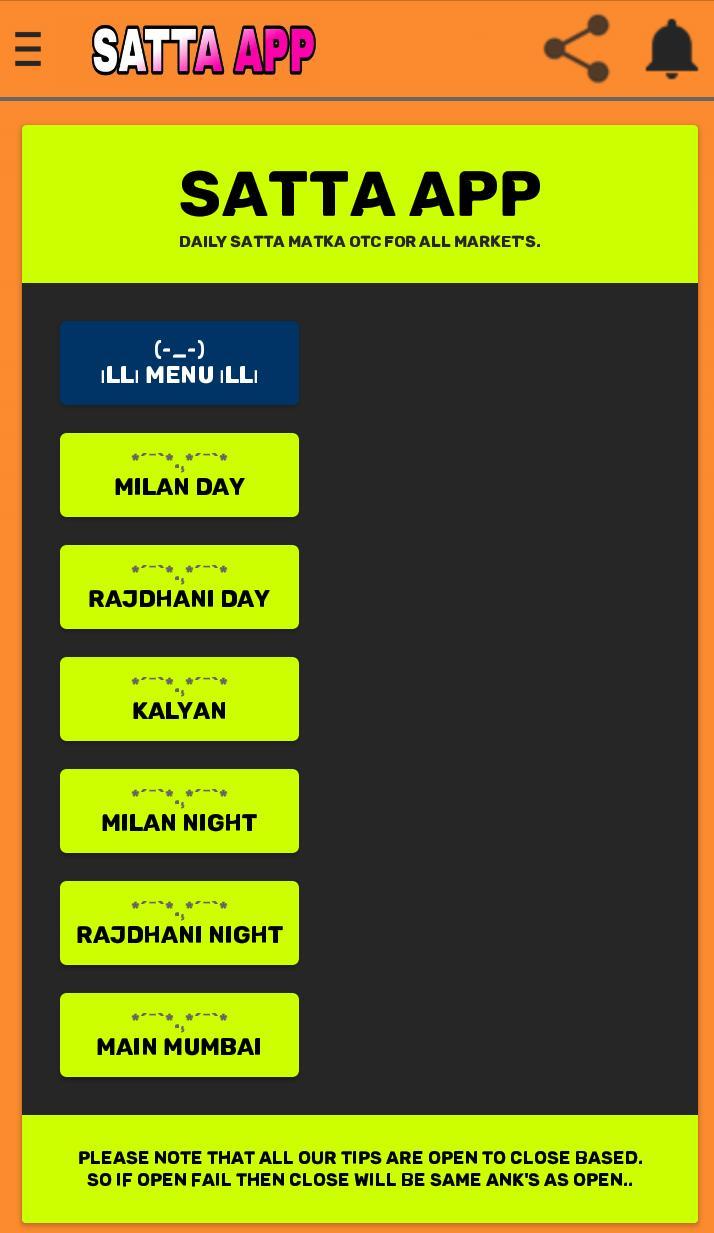 SattaApp India's Kalyan Matka Main Mumbai free Tip for