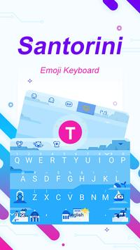 Santorini Theme&Emoji Keyboard poster