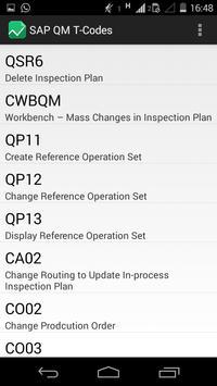 SAP QM T-Codes apk screenshot