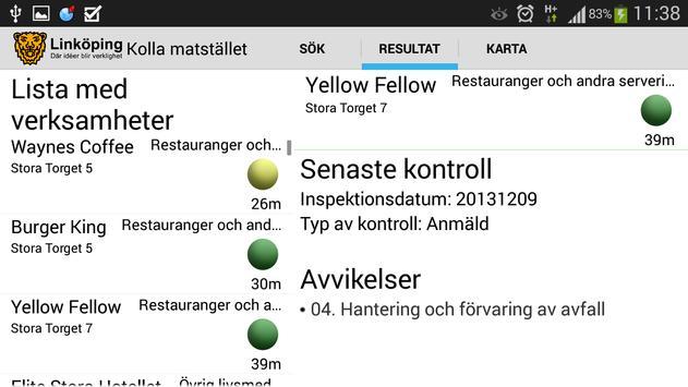 Kolla Matstället apk screenshot