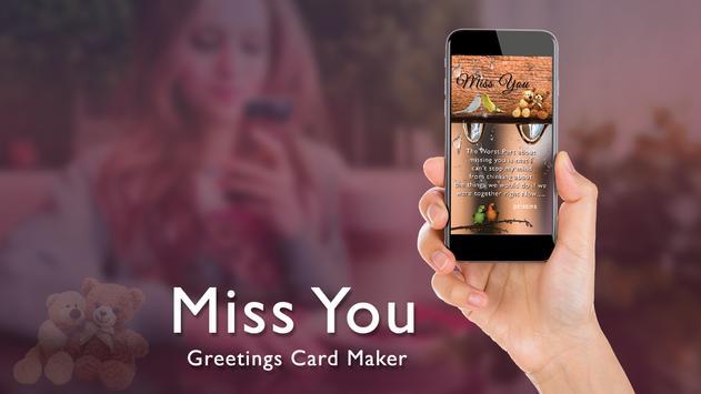 Miss You Greeting Card Maker screenshot 1