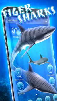 3D tiger sharks theme poster